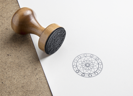 XII Round Rubber Stamp Mockup